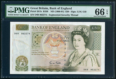 Great Britain 50 Pounds ND (1988 - 91) Bank of England PMG 66 epq Gem UNC