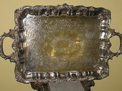 LARGE Antique  Silver Plated Coffee / Tea  Handled & Footed  Tray