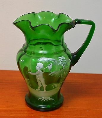 Mary Gregory Green Enamelled Glass Jug 1890s