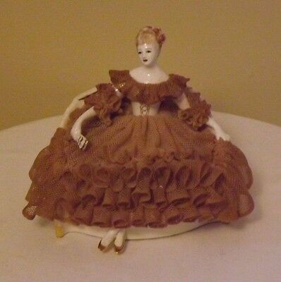 "Antique California Dresden by Avis Lace Porcelain ""Vivian"" seated figurine-Rare"