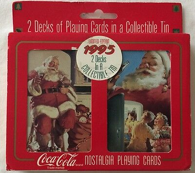 Vintage 1995 Limited Edition Coca Cola Nostalgia Playing Cards in Tin Christmas