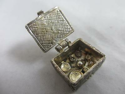 Opening picnic basket sterling silver english charm vintage c1960 tbj01340