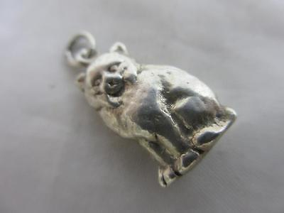 Sitting cat sterling silver pendant english charm vintage c1960 tbj01344