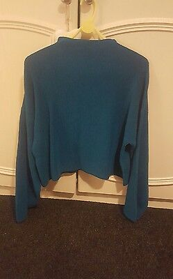 TOPSHOP Teal Green Ribbed Jumper Funnel Neck Sweater Flute Sleeve Top S 12 BNWT