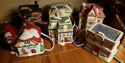 10 Porcelain Light Up Christmas Village Houses Gifts Collectable