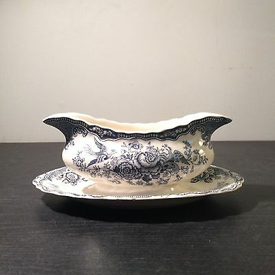 Crown Ducal Bristol Blue Attached Gravy Boat
