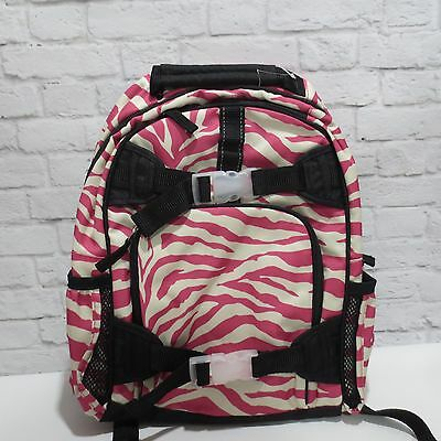 Pottery Barn Kids girls SMALL bright pink & black ZEBRA Backpack animal print