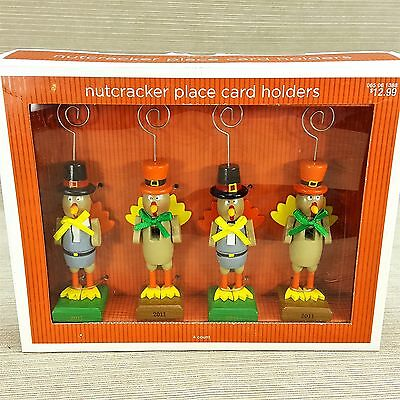 "Nutcracker Place Card Holder Set 4 Thanksgiving Wooden 5"" Figure Turkey Pilgrim"