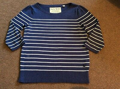 Jack Wills Size 8 Blue/White Striped Cotton Fine Knit 3/4 Sleeve Jumper