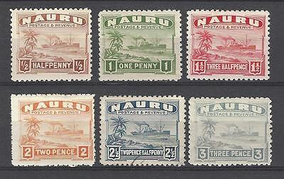 Nauru 1924-48 Sc#17-22a  Freighter-Definitives MH Used Short Set Cat $20