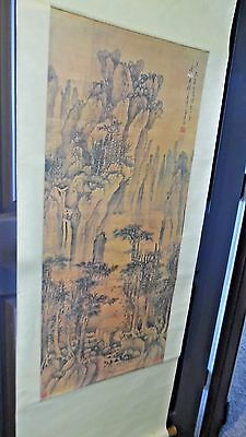 Asian Hanging Scroll Art Mountains, Trees, Woman Sitting Signed