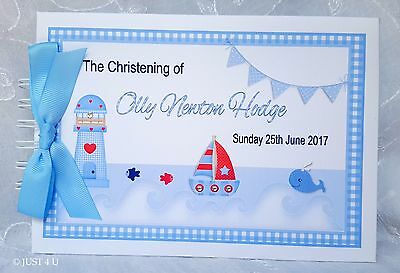 Personalised Nautical Theme *Christening* Naming Day Guest Book Scrapbook Album