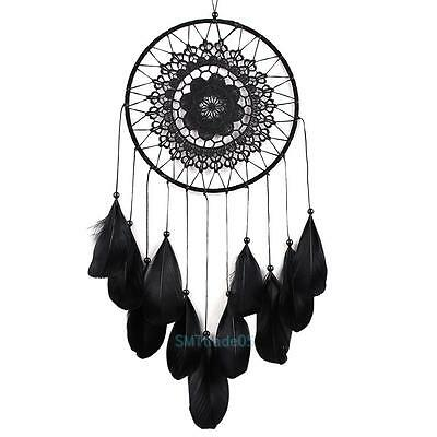 Handmade Black Dream Catcher With Feathers Wall Hanging Decoration Ornament Gift