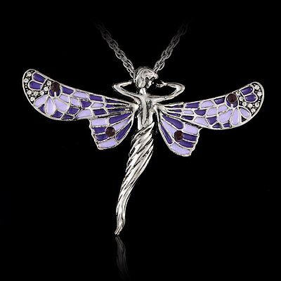 Fashion Angel's Wing Rhinestone Pendant Necklace Jewelry Long Sweater Chain Gift