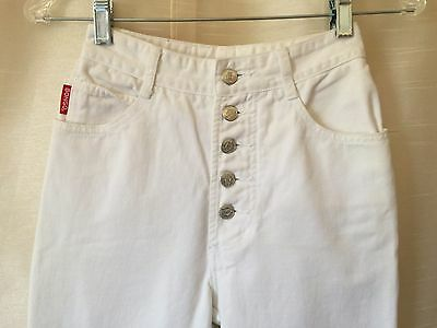 Vtg 80s 90s White BONGO 24x29 USA Jeans High Waist Button Fly Skinny Tapered