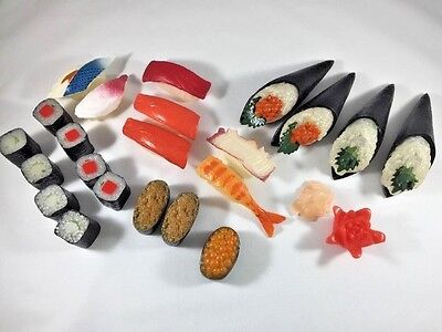 Pretend Play Replica Prop Plastic Sushi Asian Realistic Fake Food 24 Pieces