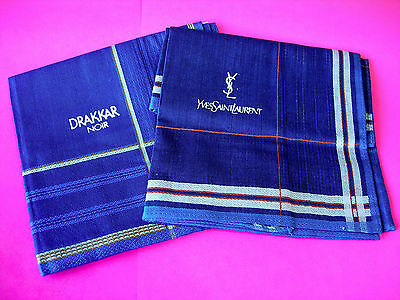 Set of 2 Promotional YSL and DRAKKAR NOIR Woven Men's Handkerchiefs 43x43cm NEW