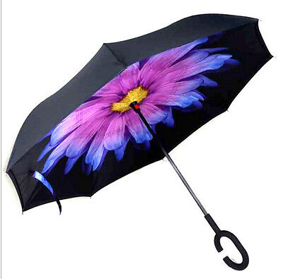 Coloured glaze C-Handle Windproof Reverse Double Layer Upside Down Umbrella