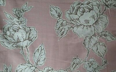 Laura Ashley Pink Floral 'Summer Rose' Fabric, Cotton Linen. Per metre