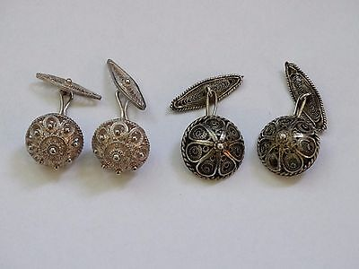 antique vintage cufflinks silver filigree 2 pairs very rare