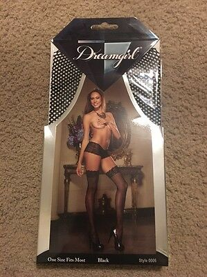 Dreamgirl Women's Fishnet Thigh High Stockings With Lace Top New Style 0006