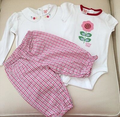 Baby Gap Girl Outfit 6-12 Months Checked Pants Bodysuit Flowers 3-6 Month Summer