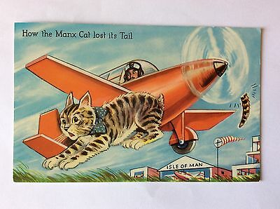 vintage postcard, Isle of Man, Manx cat, comic, 1970's