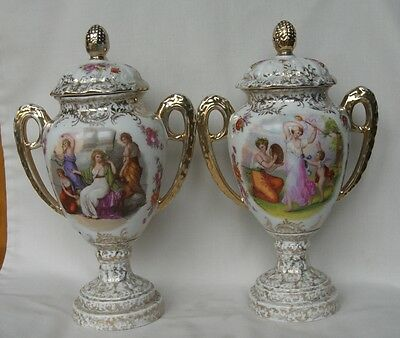 ANTIQUE PAIR 19th CENTURY SITZENDORF DRESDEN STYLE LIDDED URNS SIGNED KAUFMANN