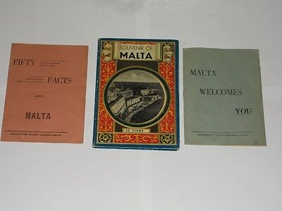 Vintage Booklets On Malta. 3 Different. Souvenir Of Malta 32 Views/Welcome/Facts