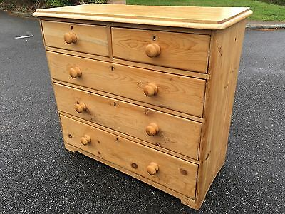 Antique Victorian Period Solid Pine Chest Of Drawers