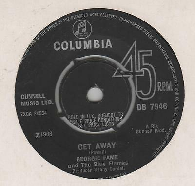 Georgie Fame Get Away Columbia DB 7946 VG plays well