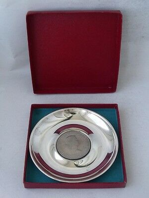 """Sterling Silver Dish 1966 Set with """"Churchill"""" Crown/ Dia 10 cm"""