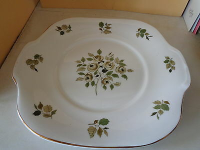 Bone China Crown Staffordshire Cake Plate with Green Flower decoration.