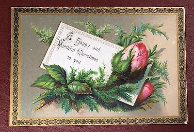 Vintage Greeting Card - A Happy And Mirthful Christmas To You
