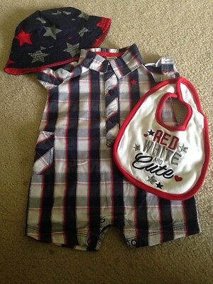 Carter's Infant Romper, Bib & Hat Set, 6-9 Months, Red White and Cute