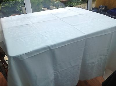 Vintage White Linen Tablecloth With Floral Pattern 170cm By 170cm