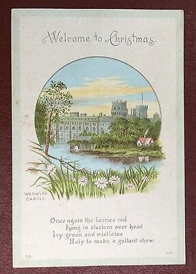 Vintage Greeting Card - Welcome To Christmas - Warwick Castle