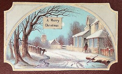 Vintage Greeting Card - A Merry Christmas - Rural Scene