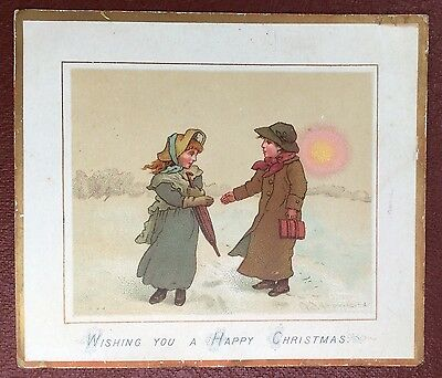 Vintage Greeting Card - Wishing You A Happy Christmas (Welcome Couple)
