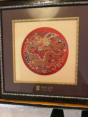 Picture Wall Hanging From China  Brocade Embroider Dragon Silk Authentisity Card