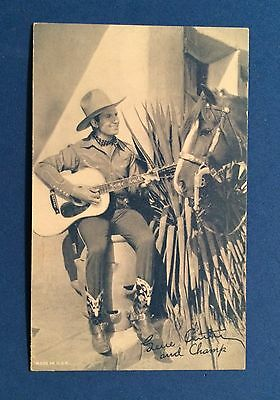 Early Autographed Photo of Handsome GENE AUTRY Playing Guitar & CHAMP the HORSE