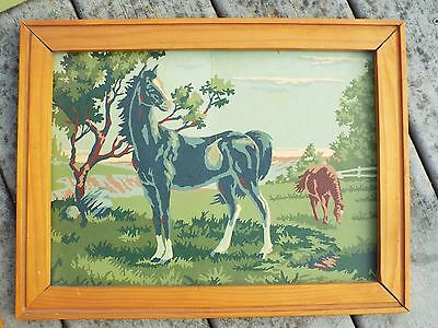 Vintage very old Horses in field paint by number Framed