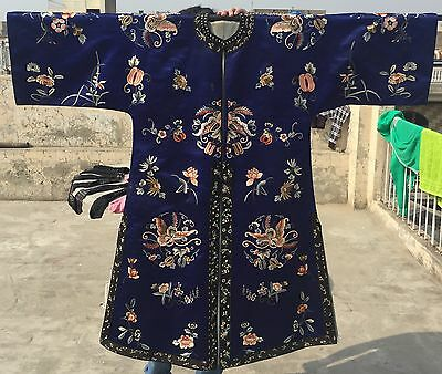 Antique Chinese Hand Embroidered Robe Good Condition Magnificent Circa 1850- 60
