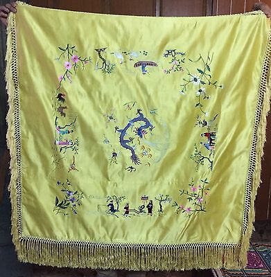 """Antique Silk Hand Embroidered Piano Shawl Multi Color Work Pure Silk 41"""" By 40"""""""
