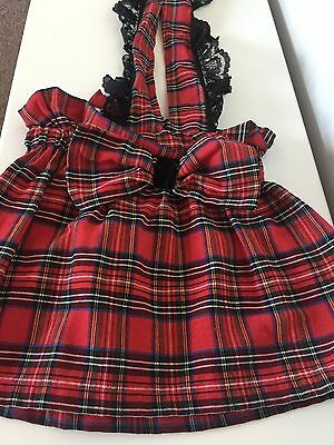 new handmade tartan skirt with lace braces 12-18 months