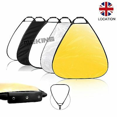 "80cm 31"" 5 in 1 Multi Reflector Triangle Collapsible Panel Disc Light Control UK"