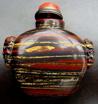 Snuff Bottle, Snuffbottle, Tigerauge, Masken, China, Feng Shui