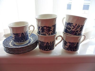 5x blue willow pattern  cups and saucers