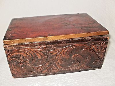 ANTIQUE WOODEN BOX w DECORATIVE CARVED SIDES