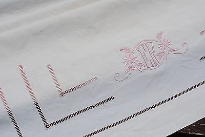 Large Antique French Linen Baby Crib Cot Sheet Pink Embroidered Monogram E R